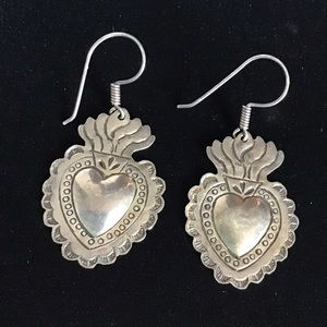 Vintage Sterling Sacred Heart Milagros Earrings